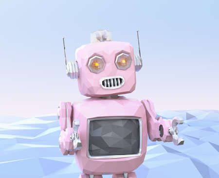 Front view of low poly robot on blue background. 3D rendering image.