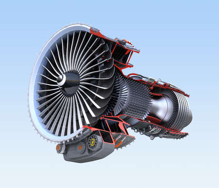 cutaway drawing: Turbofan jet engines cross section wireframe isolated on blue background. 3D rendering image. Stock Photo