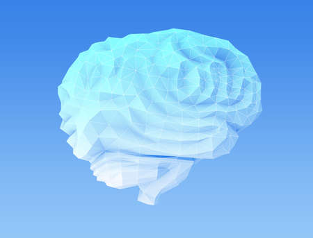 Side view of low poly brain model. Concept for artificial intelligence. 3D rendering image.