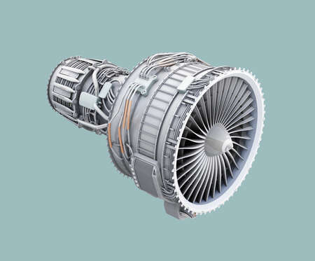 3D wireframe clay render of turbofan jet engine isolated on green background. 3D rendering image.