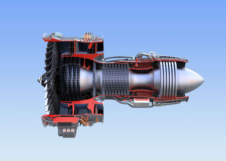 Side view of turbofan jet engines cross section wireframe isolated on blue background. 3D rendering image.