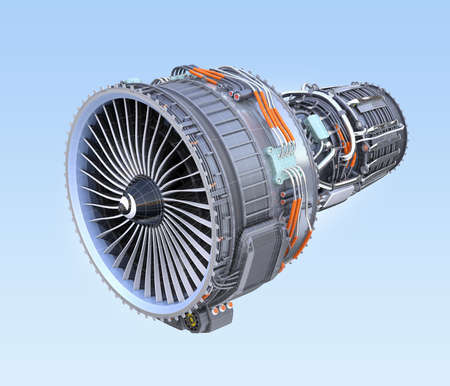 Wireframe turbofan jet engine isolated on blue background. 3D rendering image.