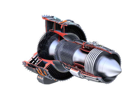 cutaway drawing: Turbofan jet engines cross section wireframe isolated on white background.  3D rendering image. Stock Photo