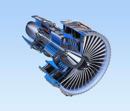 Der Querschnitt des Turbofan-Düsentriebwerks, der auf blauem Hintergrund lokalisiert wird. 3D-Rendering-Bild. Standard-Bild - 84058605