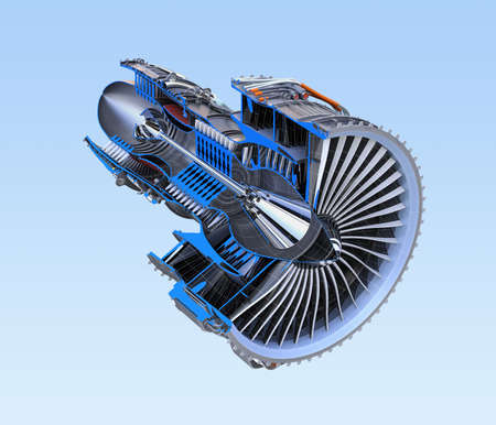 cutaway drawing: Turbofan jet engines cross section frame isolated on blue background. 3D rendering image.