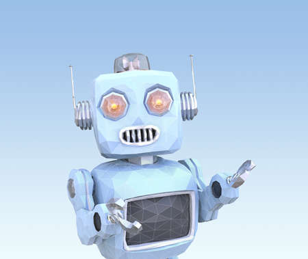 Low poly style robot with wire frame isolated on blue background. 3D rendering image. Stock Photo