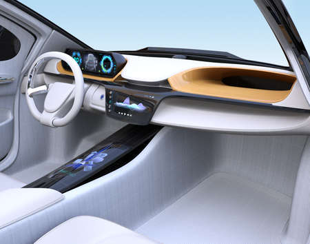 Electric vehicle interior concept in wireframe. 3D rendering image.