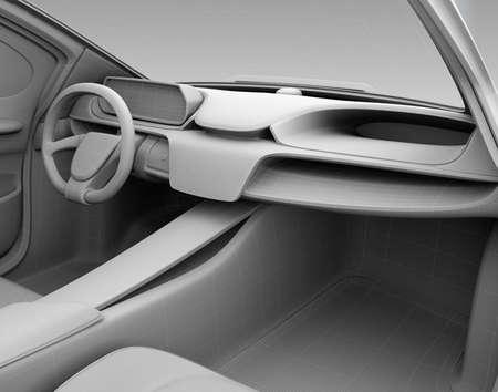 Klei model weergave van auto dashboard in draadframe. 3D-rendering afbeelding. Stockfoto