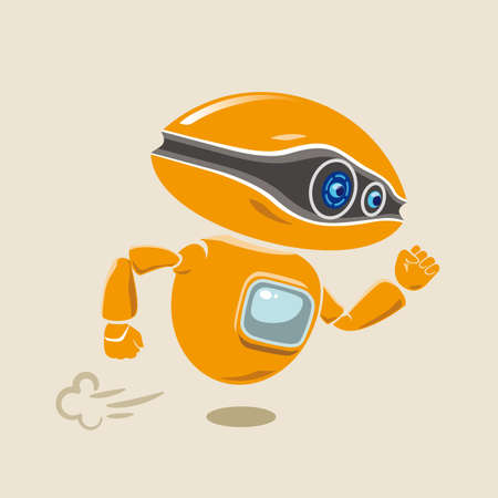 Orange robot flying fast in a hurry. Vector illustration.