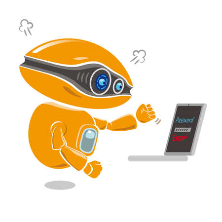 Orange robot get impatient at trouble of error message on the laptop screen. Vector illustration. Illustration