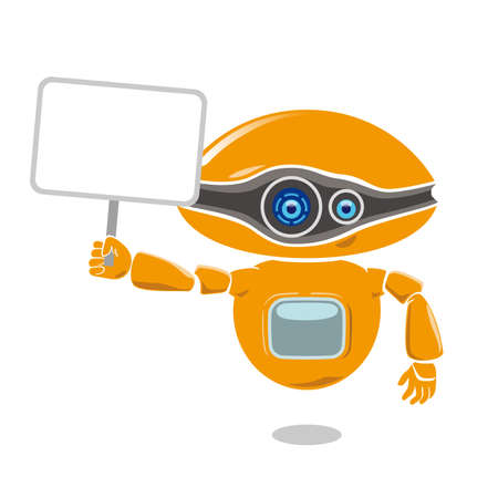 Orange robot holding a blank placard isolated on white Ilustração