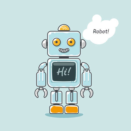 Retro robot isolated on light blue with word Hi! on the screen illustration. Ilustração