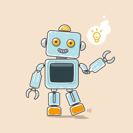 Cute robot waves his hand with yellow idea symbol. Ilustração