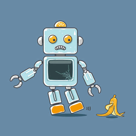 Cute robot and banana mascot isolated on blue . Concept for accident prediction. Ilustração