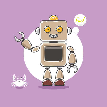 Cute robot and a little crab wave hand on purple Illustration