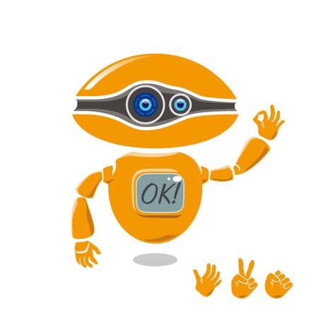 Orange robot is showing OK sign. Set of left hands gesture available. Illustration