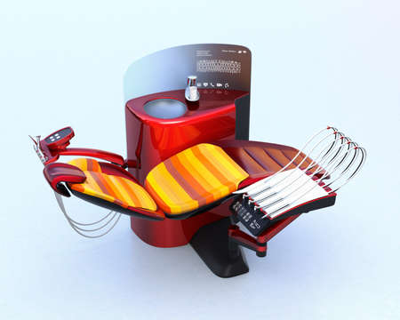 Metallic red dental unit equipment with colorful chair. Frosted glass partition display patients row teeth. 3D rendering image in original design.