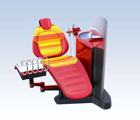Metallic red dental unit equipment with colorful chair, frosted glass partition. 3D rendering image in original design. Stock Photo
