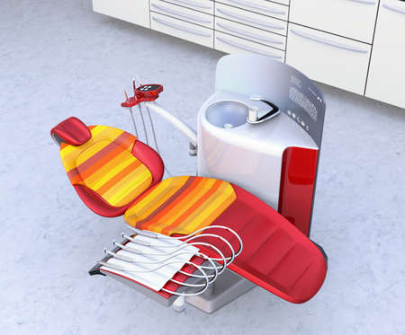 Dental office interior with white unit equipment, cabinet and red chair. 3D rendering image.