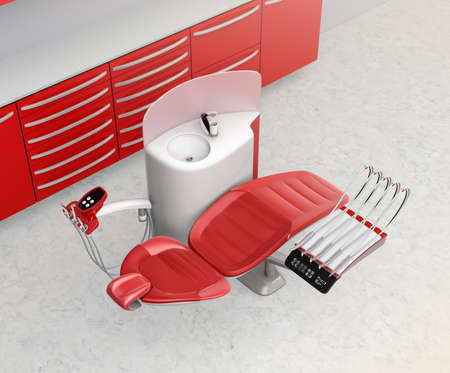 Dental office interior with metallic red unit equipment and cabinet. 3D rendering image. Stock Photo