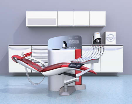 screen partition: Dental office interior with white unit equipment, cabinet and red chair. 3D rendering image.