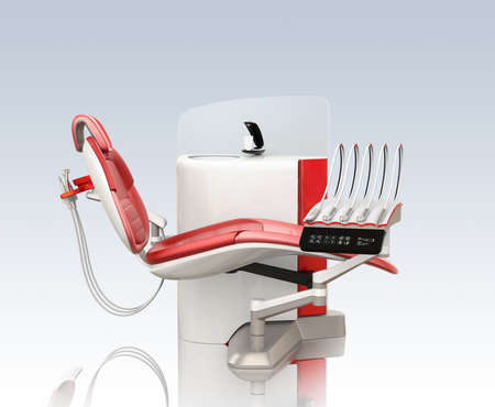 Side view of modern dental equipment isolated on gradient background. 3D rendering image. Stock Photo