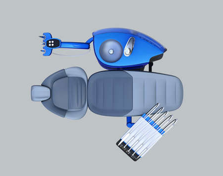 Top view of metallic blue dental unit equipment isolated on gray background. 3D rendering image. Stock Photo