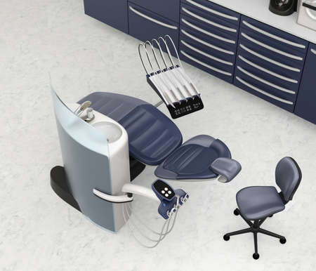 Dental office interior with metallic blue unit equipment and cabinet. 3D rendering image.