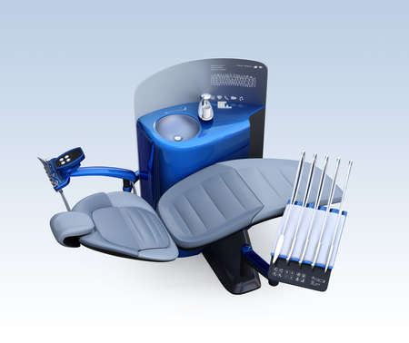 Metallic blue dental unit equipment isolated on light blue background. Frosted glass partition display patients row teeth. 3D rendering image in original design.