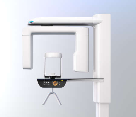 Side view of dental X-ray machine isolated on gradient background. 3D rendering image. Stock Photo