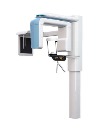 Dental X-ray machine with cephalometric unit isolated on white background. 3D rendering image.