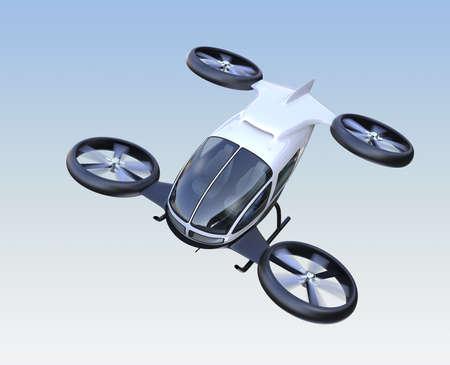 Vista frontal del drone de pasajeros autónomos volando en el cielo. Imagen de renderizado 3D. Diseño original.