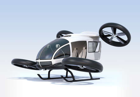 White self-driving passenger drone landing on the ground, left cabin door opened. 3D rendering image. Stock Photo