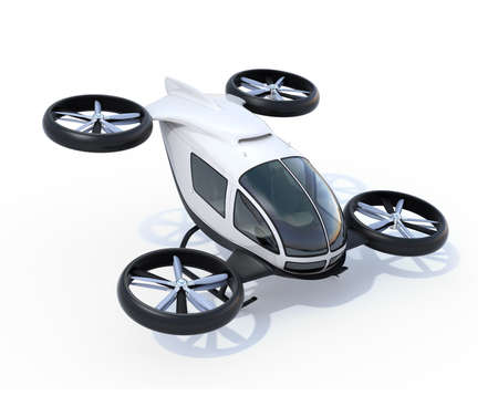 White self-driving passenger drones isolated on white background. 3D rendering image.
