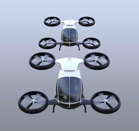 正面の 2 つの自動運転旅客無人機が空を飛んでいます。3 D レンダリング イメージ。