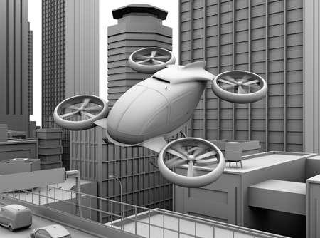 Clay rendering of self-driving passenger drone flying over a highway bridge. 3D rendering image