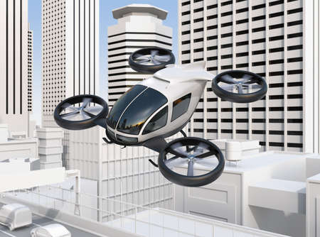 Self-driving passenger drone flying over a highway bridge which in heavy traffic jam. 3D rendering image