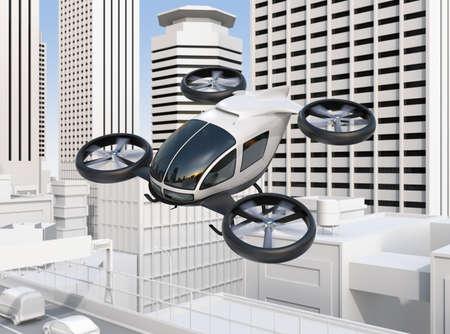 Selbstfahrendes Passagierdrohnen, das über eine Straßenbrücke fliegt, die im Stau stark ist. Bild der Wiedergabe 3D Standard-Bild