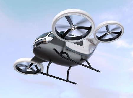 Witte zelfrijdende passagiershommel die in de hemel vliegt. 3D-rendering afbeelding.