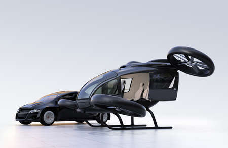 Self-driving car and passenger drone parking on the ground. 3D rendering image