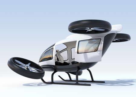 Achteraanzicht van witte zelfrijdende passagiershommel landing op de grond, linker cabinedeur geopend. 3D-rendering afbeelding. Stockfoto - 88292552