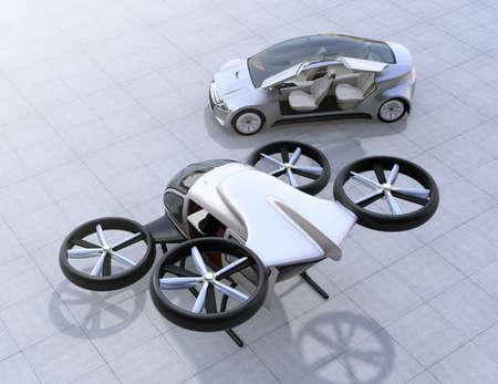 Zelfrijdende auto- en passagiersdrone parkeren op de grond. 3D-rendering afbeelding