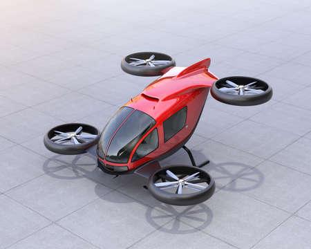 金属製の赤い自動運転旅客の地上無人機します。3 D レンダリング画像