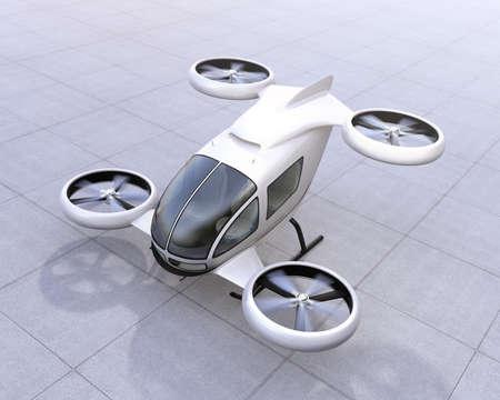 白自動運転旅客のドローン地面に着陸します。3 D レンダリング イメージ。