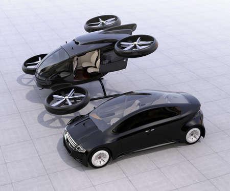 지상에서자가 운전하는 자동차 및 승객 무인 항공기 주차. 3D 렌더링 이미지 스톡 콘텐츠