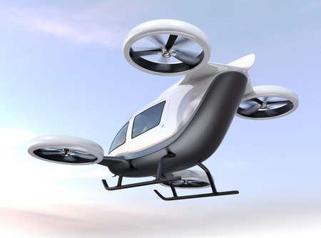 Weißes selbstfahrendes Passagierdrohnenfliegen im Himmel. Bild der Wiedergabe 3D.