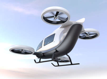White self-driving passenger drone flying in the sky. 3D rendering image.