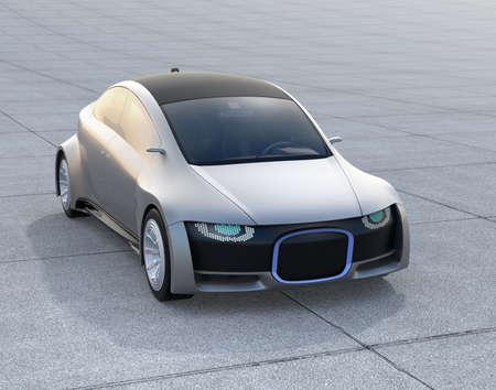 銀は地面に自走式駐車場。デジタルのヘッドライトを持つフロント グリル。3 D レンダリング イメージ。