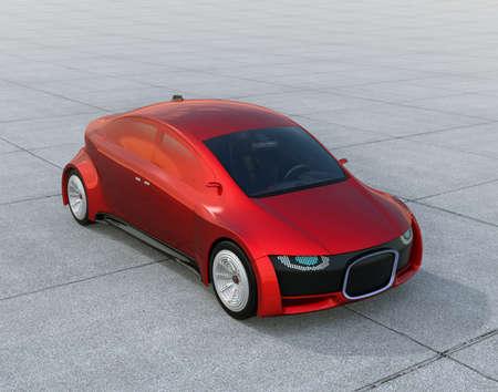 メタリックレッド地面に自走式駐車場。デジタルのヘッドライトを持つフロント グリル。3 D レンダリング イメージ。