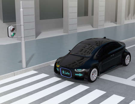 grille: Black self-driving cars front grille showing digital signage for pedestrian. Concept for communication between autonomous car and pedestrian. 3D rendering image. Stock Photo